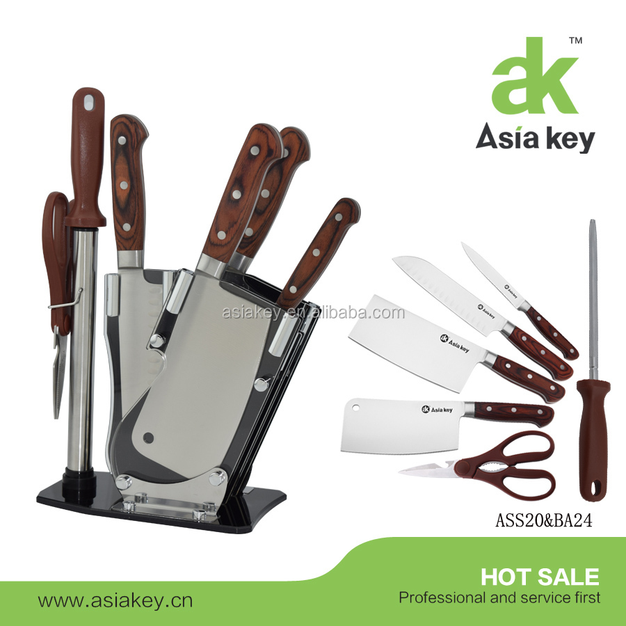 Pakka wood handle stainless steel cleaver kitchen knife for Handle kitchen set