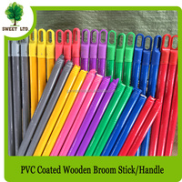 Sweeping broom pole PVC coated wooden handles 2.2cm diameter