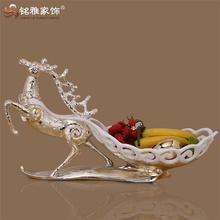 guangzhou home decor modern animal polyresin fruit and candy bowl