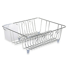 Durable flat wire kitchen plate rack/hanging stainless steel dish rack/kitchen cabinet dish rack