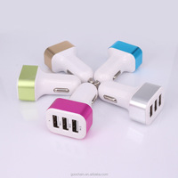 Electric Type and Tablet PC and cell phone Use universal multi port 3 port usb car charger with LED light