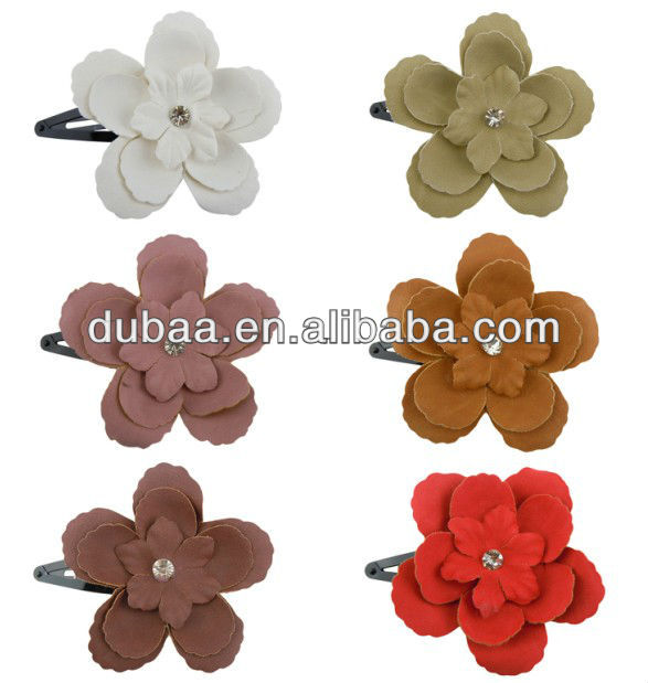Hair Jewelry Supplier Chiffon Satin Girl Hair Snap and Clips,Hair Jewelry Snap Clips,Flower Hair Clips Accessory