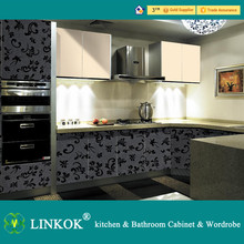 Linkok Furniture High gloss Hot selling perfect acrylic hotel kitchen project
