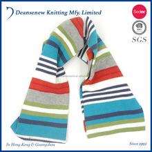 New Design Cute 100% Cotton Stripe Pattern Warm Fall Winter Child Kids Boy Girl Multi Color Tubular Fair Isle Knit Scarf
