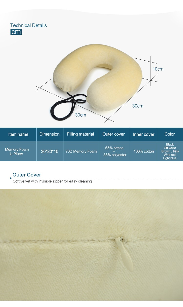 BYC Rohs Test Travel Neck Pillow Soft Velvet U Shape 70D Memory Foam Travel Pillow