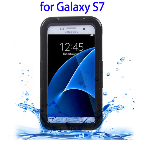 IPX8 Plastic + Silicone Waterproof Case for Samsung Galaxy S7 Case with Lanyard