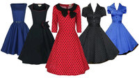 Walson Elegant Style Women's Rockabilly Vintage Swing Evening Dress 60s Retro Prom Party Cherry Dress