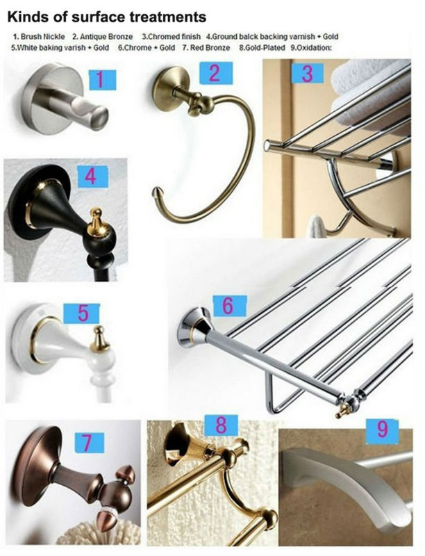 Modern curved style 6 piece Towel Bar Rack Robe Hook Paper Soap Dish Toothbrush Holder Bathroom Bathroom Hardware Set
