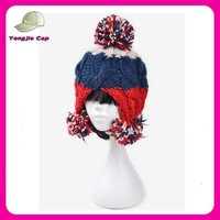 fashion high quality acrylic women knitted hat with earflaps pattern wholesale