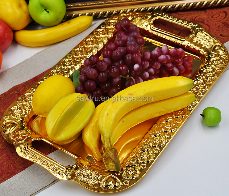 Europe luxury metal fruit serving tray / fruit decoration tray / gold and silver serving tray