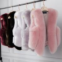 2016 wholesale fashion European Style Woman Fake Fox Fur Women's Gilet / Faux Fox Fur Vest