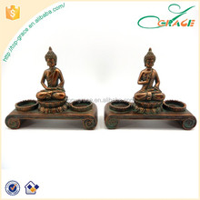 Resin Buddha tabletop Buddha Tea light 2 holders Thailand Buddha candle holder