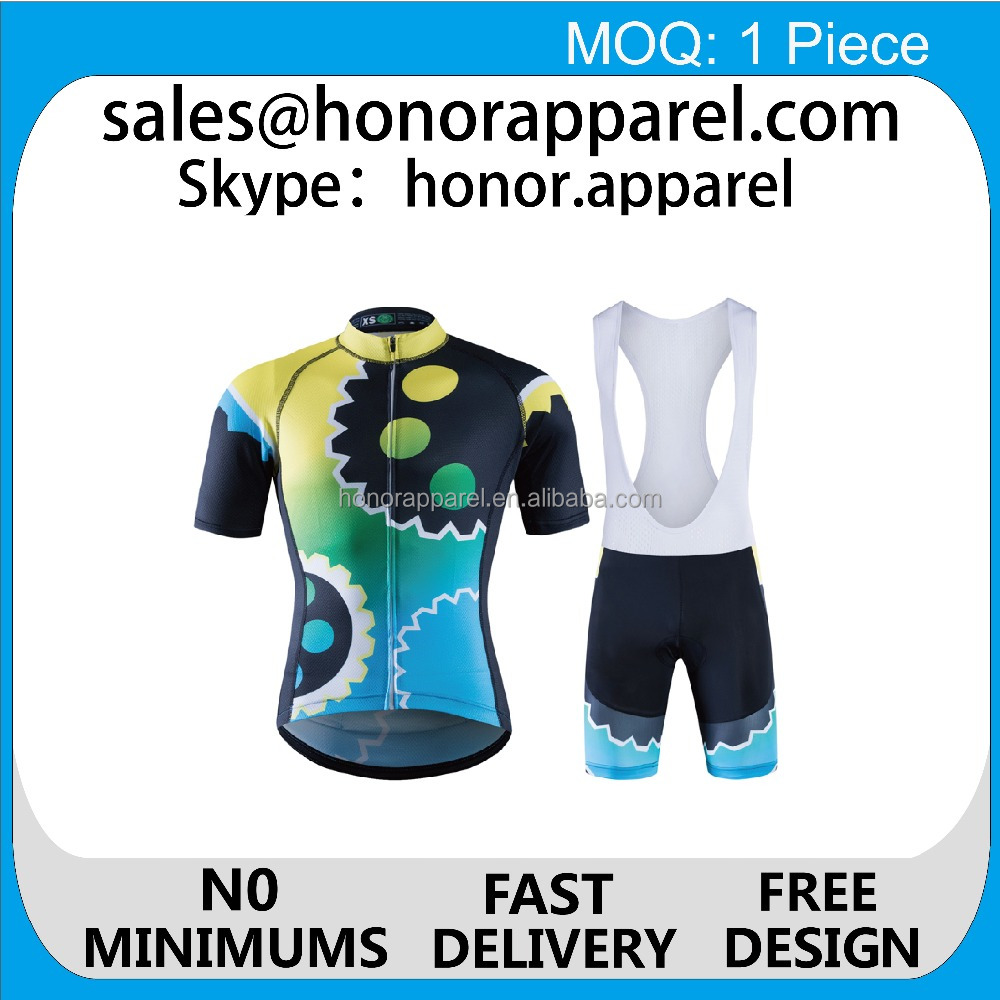 2017 free design new product comfortable wear high quality colorful custom cycling jersey/cycling bib shorts