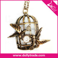 Creative Birdcage Diamond Rotating Pendant Necklace For Promotion