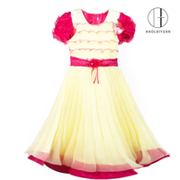 849 Rose Red Newest design top quality flower girl formal dresses