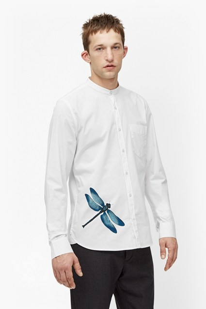 long sleeve dragonfly printed white fashion new model oxford shirt