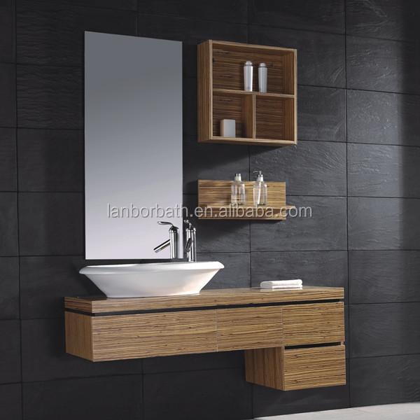 moderno barato chapa de madera mueble de bao con estanteria de madera y cermica del fregadero