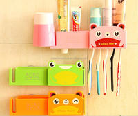 plastic bathroom accessories automatic toothpaste dispenser toothbrush holder/one stop sourcing agent