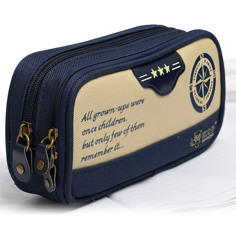 wholesale canvas pencil case with custom printed logo for kids use double zipper