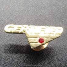 Custom high quality 1-inch metal plating gold badge with one red rhinestone and screw on back