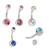 Jewelry Making Supplies Double Crystal Titanium Body Navel Ring Piercing Jewelry