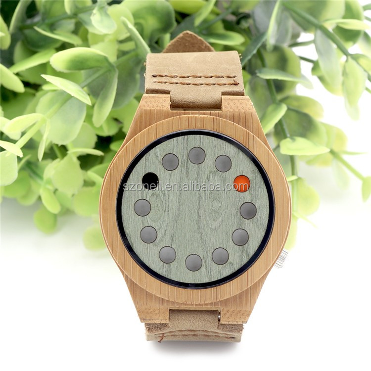 BOBO style Mens Watches Luxury Bamboo Wooden 12 Holes Quartz Watches