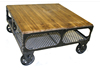 Industrial rustic wood top Coffee table with wheels