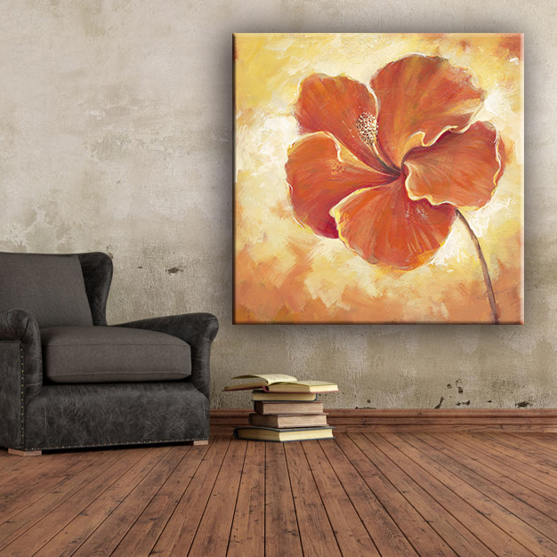 Home decor red color simple flower oil painting canvas designs