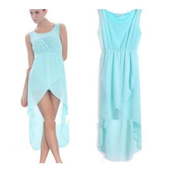 Sky Blue Vestidos 2015 Summer Women Sleeveless Chiffon Dress Fashion Tunic Slim For Dovetail Mid-calf Beach Dresses Plus Size