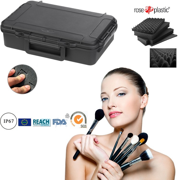 Professional plastic dustproof make up kit case with cubed convoluted foam IP67 waterproof RC-PS 195 L