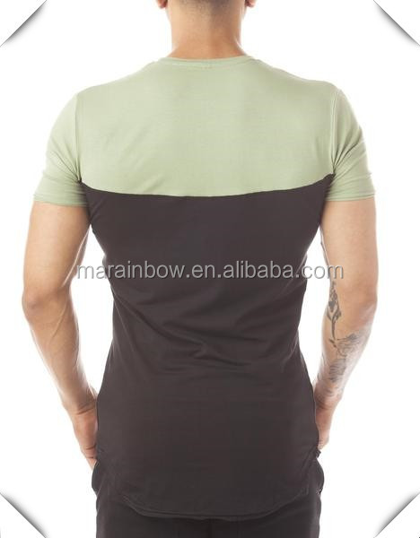 Blank 94% Cotton 6% Elastane Mens Two Tone Panel T-Shirt Longline Short Sleeve Curved Hem T Shirt OEM Gym Fitted T Shirt