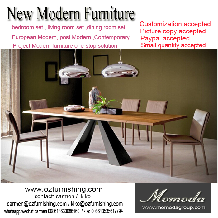 Momoda luxury Italy modern furniture 1PC customized 8-12 chairs extending dining table Dubai middle east dining room furniture