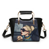 Cheap Fashion Name Branded Printing Ladies Leather Long Strap Shoulder Handbags