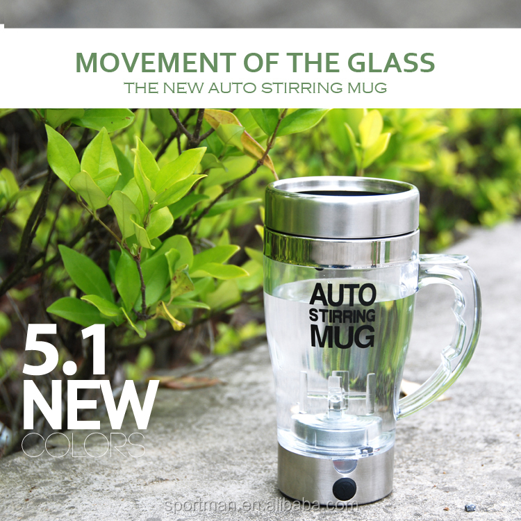 High quality press button auto stirring mug stainless steel travel mug cheap selling mug in China