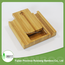 Multifunctional bamboo mobile phone holder and name card case