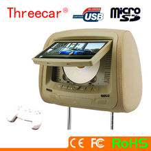 NEW car headrest DVD player with 7'' monitor support USB/SD/IR/FM/ 2 gamer car headrest mount portable dvd player