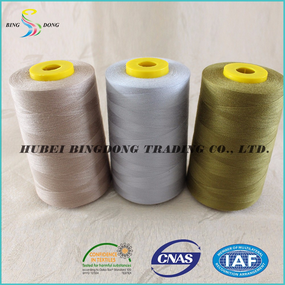 30S/2 Dyed Pattern100% cone Polyester spun yarn Material made factory price sewing thread