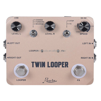 Rowin Twin Looper Station Electric Guitar Effect Pedal Loop Station for Guitarists Golden