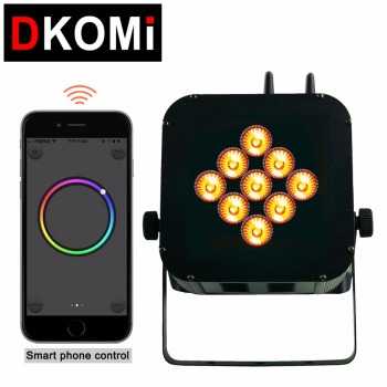 WiFi Smart Mini PAR 9x18W RGBWA UV 6in1 Battery Operated Wireless DMX LED Uplighting For DJ Wedding & Events
