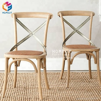 High quality provincial x cross back dining chairs with fabric seat