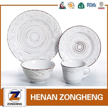 Wholesale 16pcs Stocks Embossed Dinnerware