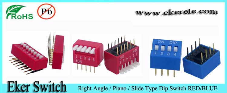 2.54mm Piano Type DP Series Dip Switch 6 Position