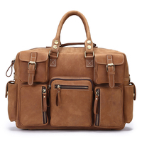 Top quality vintage genuine brown crazy horse leather laptop briefcase