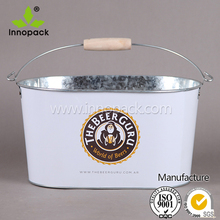 10QT round custom printing galvanized ice bucket with metal carry handle/beer cooler