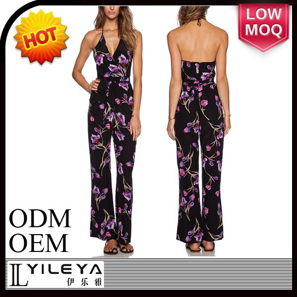 latest design sexy backless floral jumpsuits for women 2015