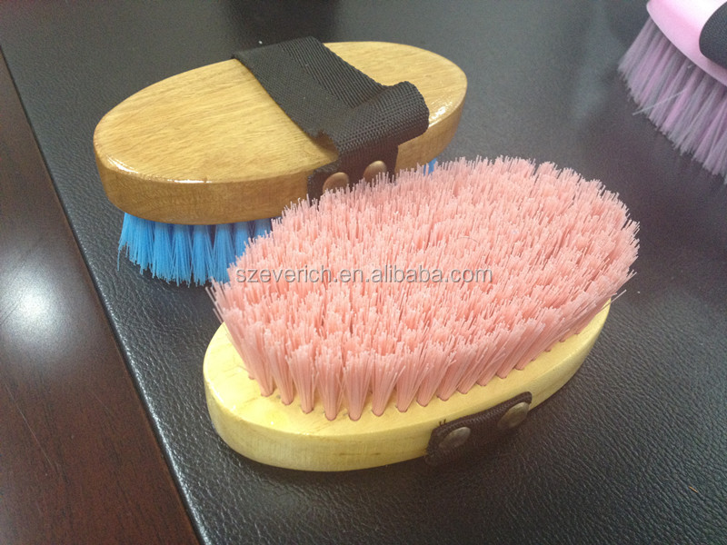 Wooden Cover pinky and blue horse cleaning brush
