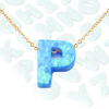 Letter P Logo Bead Design Pendant 925 Sterling Silver Gold Plated Chain Jewelry Fashion Opal Necklace
