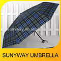 3 Folding Advertising Check Pattern Folding Umbrella for Promotion