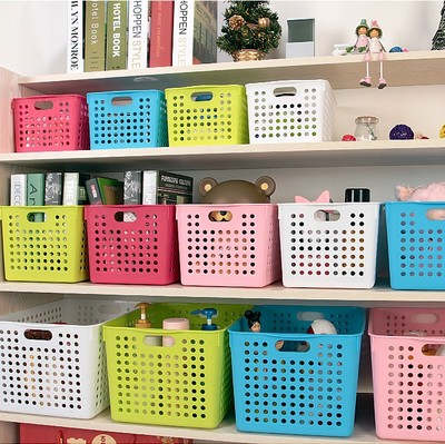 2016 Panier De Rangement Japanese Colorful Thick Rectangular Plastic Storage Baskets Kitchen Bathroom Desktop Basket Finishing