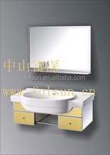 Modern Wall Mounted Stainless Steel Bathroom Ceramic Hand Wash Basin Mirror Vanity Cabinet